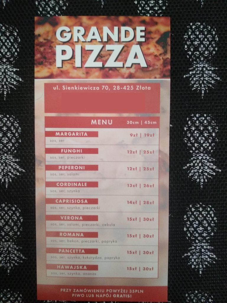 menu pizza grande
